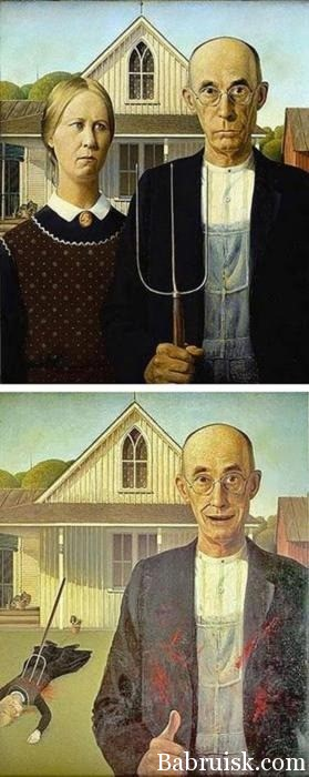 лысеющий очкарик захуярил на хуй вилами бабу! ай, молодца! Ебошь, ебошь!!! и по хуй, что баян :)