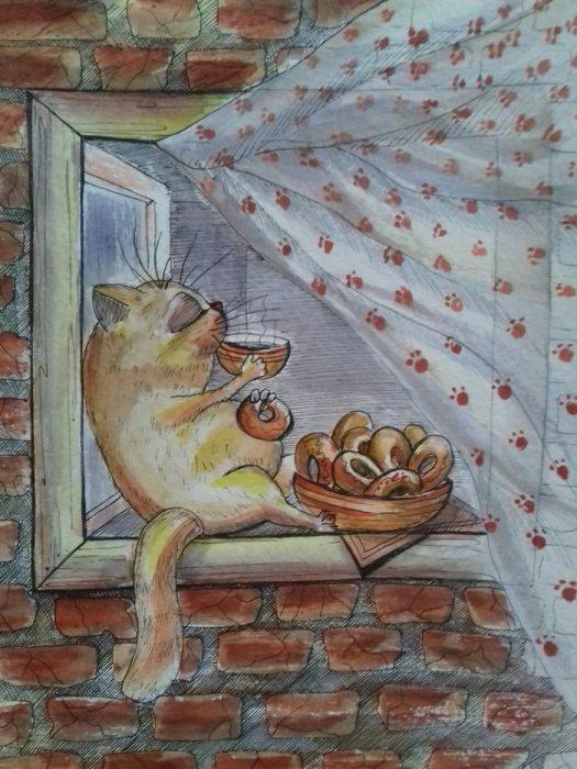 котик с баранками
